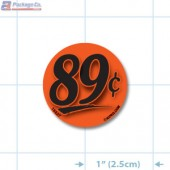 89¢ Fluorescent Red Circle Merchandising Price Label Copyright A1PKG.com - 15527