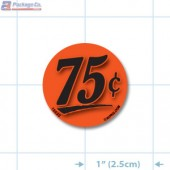 75¢ Fluorescent Red Circle Merchandising Price Label Copyright A1PKG.com - 15532