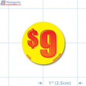 $9 Bright Yellow Circle Merchandising Price Label Copyright A1PKG.com - 15709
