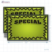 "Green Special 3D Starburst Merchandising Placards 1UP (11"" x 7"") - Copyright - A1PKG.com - 16004"