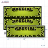 "Green Special 3D Starburst Merchandising Placards 2UP (11"" x 3.5"") - Copyright - A1PKG.com - 16005"
