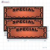 "Orange Special 3D Starburst Merchandising Placards 2UP (11"" x 3.5"") - Copyright - A1PKG.com - 16008"