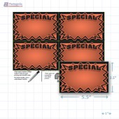 "Orange Special 3D Starburst Merchandising Placards 4UP (5.5"" x 3.5"") - Copyright - A1PKG.com - 16009"