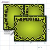 "Green Special 3D Starburst Merchandising Placards 2UP (5.5"" x 7"") - Copyright - A1PKG.com - 16014"