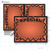 "Orange Special 3D Starburst Merchandising Placards 2UP (5.5"" x 7"") - Copyright - A1PKG.com - 16015"