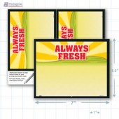 "Always Fresh Merchandising Placard 7.5x5"" - Copyright - A1PKG.com SKU - 16808"