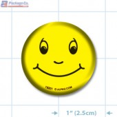 Smiley Face Bright Yellow Circle Merchandising Label Copyright A1PKG.com - 19201