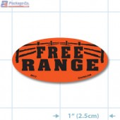 Free Range Fluorescent Red Oval Merchandising Labels - Copyright - A1PKG.com SKU - 20117