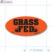 Grass Fed Fluorescent Red Oval Merchandising Labels - Copyright - A1PKG.com SKU - 20118