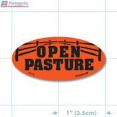 Open Pasture Fluorescent Red Oval Merchandising Labels - Copyright - A1PKG.com SKU - 20119