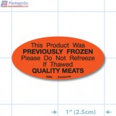 Previously Frozen Do Not Refreeze Fluorescent Red Oval Merchandising Labels - Copyright - A1PKG.com SKU - 20220