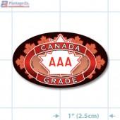 Canada Prime Grade AAA Full Color Oval Merchandising Labels - Copyright - A1PKG.com SKU - 20302