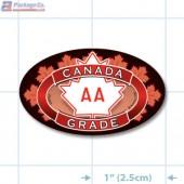 Canada Prime Grade AA Full Color Oval Merchandising Labels - Copyright - A1PKG.com SKU - 20303