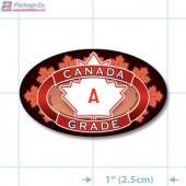 Canada Prime Grade A Full Color Oval Merchandising Labels - Copyright - A1PKG.com SKU - 20304