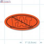NO Fat Fluorescent Red Oval Merchandising Labels - Copyright - A1PKG.com SKU - 20401
