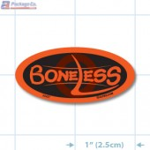 Boneless Fluorescent Red Oval Merchandising Labels - Copyright - A1PKG.com SKU - 20427