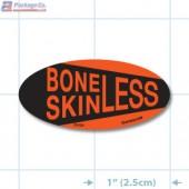 Boneless Skinless Fluorescent Red Oval Merchandising Labels - Copyright - A1PKG.com SKU - 20428
