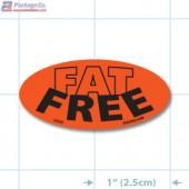 Fat Free Fluorescent Red Oval Merchandising Labels - Copyright - A1PKG.com SKU - 20429 82