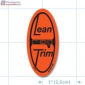 Lean Trim Fluorescent Red Oval Merchandising Labels - Copyright - A1PKG.com SKU - 20431