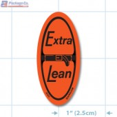 Extra Lean Fluorescent Red Oval Merchandising Labels - Copyright - A1PKG.com SKU - 20432