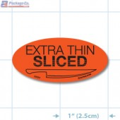 Extra Thin Sliced Fluorescent Red Oval Merchandising Labels - Copyright - A1PKG.com SKU - 20534