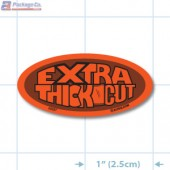 Extra Thick Fluorescent Red Oval Merchandising Labels - Copyright - A1PKG.com SKU - 20537