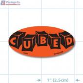 Cubed Fluorescent Red Oval Merchandising Labels - Copyright - A1PKG.com SKU - 20539