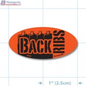 Back Ribs Fluorescent Red Oval Merchandising Labels - Copyright - A1PKG.com SKU - 20640