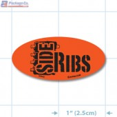 Side Ribs Fluorescent Red Oval Merchandising Labels - Copyright - A1PKG.com SKU - 2064