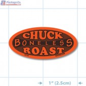 Boneless Chuck Roast Fluorescent Red Oval Merchandising Labels - Copyright - A1PKG.com SKU - 20743