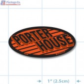 Porterhouse Fluorescent Red Oval Merchandising Labels - Copyright - A1PKG.com SKU - 20846