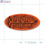 T-Bone Steak Fluorescent Red Oval Merchandising Labels - Copyright - A1PKG.com SKU - 20849