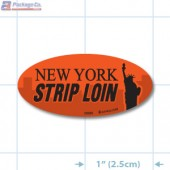 New York Strip Loin Fluorescent Red Oval Merchandising Labels - Copyright - A1PKG.com SKU - 20850