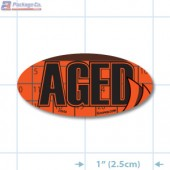 Aged Fluorescent Red Oval Merchandising Labels - Copyright - A1PKG.com SKU - 20950