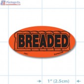 Breaded Fluorescent Red Oval Merchandising Labels - Copyright - A1PKG.com SKU - 20951