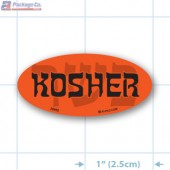 Kosher Fluorescent Red Oval Merchandising Label Copyright A1PKG.com - 20952