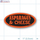 Asparagus & Cheese Fluorescent Red Oval Merchandising Labels - Copyright - A1PKG.com SKU - 20963