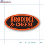 Broccoli and Cheese Fluorescent Red Oval Merchandising Labels - Copyright - A1PKG.com SKU - 20964