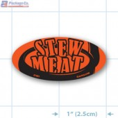 Stew Meat Fluorescent Red Oval Merchandising Label Copyright A1PKG.com - 21701