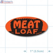 Meat Loaf Fluorescent Red Oval Merchandising Labels - Copyright - A1PKG.com SKU - 21059