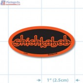 Shishkabob Fluorescent Red Oval Merchandising Labels - Copyright - A1PKG.com SKU - 21060