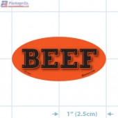 Beef Fluorescent Red Oval Merchandising Label Copyright A1PKG.com - 21501