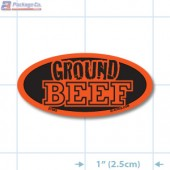 Ground Beef Fluorescent Red Oval Merchandising Label Copyright A1PKG.com - 21503