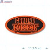 Ground Beef Fluorescent Red Oval Merchandising Label Copyright A1PKG.com - 21503