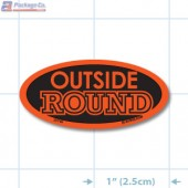 """Outside Round"" Fl. Red Oval Merchandising Label - Copyright - A1Pkg.com - SKU 21505"