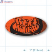 Beef Stew Fluorescent Red Oval Merchandising Labels - Copyright - A1PKG.com SKU - 21507