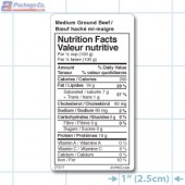 Medium Ground Beef Nutritional Labels - Copyright - A1Pkg.com - SKU - 21511
