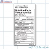 Lean Ground Beef Nutritional Labels - Copyright - A1Pkg.com - SKU 21512