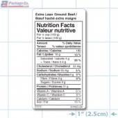 Extra Lean Ground Beef Nutrition Facts Label - Copyright - A1Pkg.com - SKU 21515