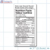 Extra Lean Ground Round Nutritional Labels - Copyright - A1Pkg.com - SKU 21516